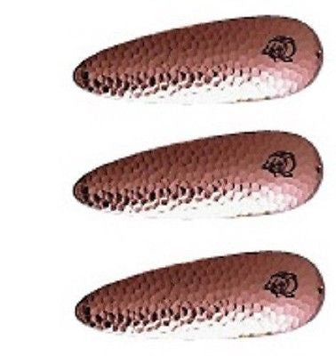 "Three Eppinger Seadevle Hammered Copper Fishing Spoon Lures 3 oz  5 3/4"" 60-64"