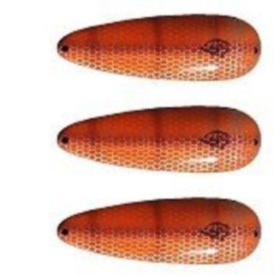 "Three Eppinger Seadevle IMP Orange/Brown Pike Spoon Lure 1 oz 3 1/4"" 62-37"