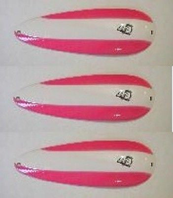 "Eppinger Three Seadevlet Pink White Stripe Spoons 1 1/2 oz 4"" x 7/8"" 61-270"