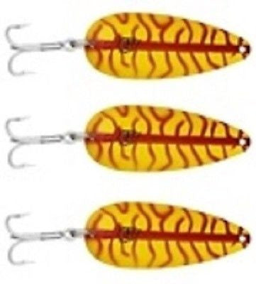"Three Eppinger Seadevle IMP Yellow/Red Ladder Spoon Lures 1 oz  3 1/4"" 62-57"