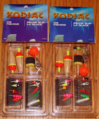 2 Kodiac Ice Fishing Kits 20 Jigs 6 Floats 2 Depth Find