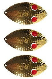 "Three Eppinger Red Eye Wiggler Hammered Brass Fish Spoons 2 1/2oz 4 3/4"" 89-63"