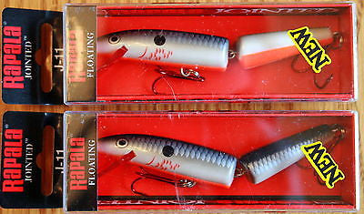 2 Rapala Jointed J-11 4 3/8 Inch Bleeding Original Shad J11 BOSD Balsa Floating