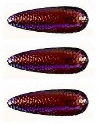 "Three Eppinger Huskie Junior Nickel Red/Purple Fishing Spoons 2 oz 4 1/2"" 7-280"