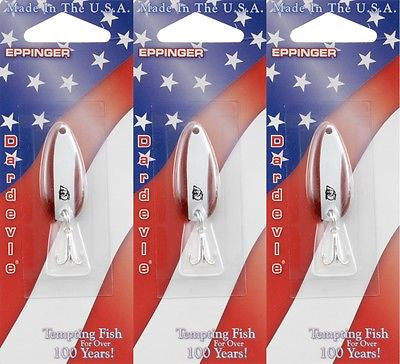 Three Eppinger Dardevle Midget Red/White 3/16oz 8-16 Spoon Fishing Lures