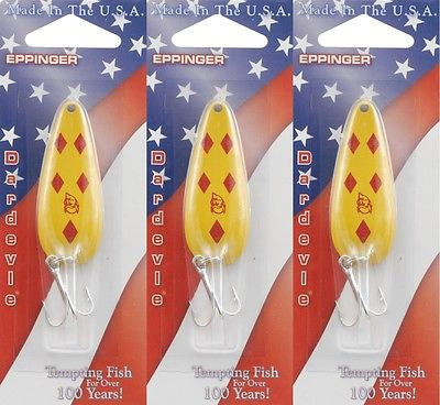 Three Eppinger Dardevle Yellow Diamond 2/5oz 2-17 Spoon Fishing Lures