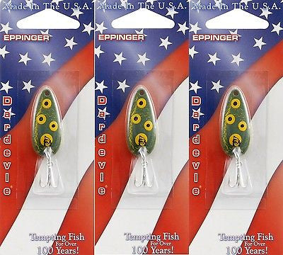 Three Eppinger Dardevle Midget Crackle Frog 3/16oz 8-13 Spoon Fishing Lures