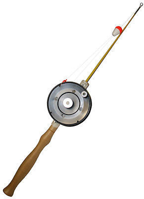 "Stopper Econo 24"" Rigged Combo Ice Fishing Rod Glass Tip Wooden Handle IPS-24-2"