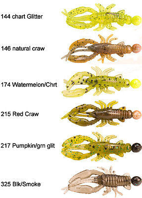 Stopper Whip'r Craw Fishing Jigs 1/32oz (Includes 6 Jigs) Multi Color WSCV32
