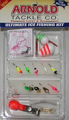 Arnold Clam Ice Fishing Kit AJ25 Jigs Two Floats Depth Finder FKW-AJ25