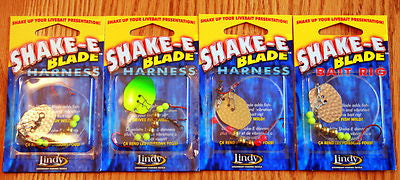 New 4 Units - Lindy Shake-E Blade Harness Live Bait Rigs Walleye Leeches Minnows