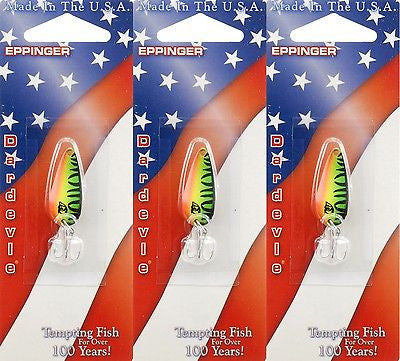Three Eppinger Dardevle Hot Mackerel 1/8oz 13-58 Spoon Fishing Lures