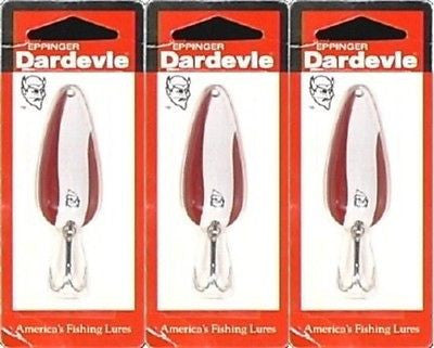 Three Eppinger Dardevle Red/White 2/5oz 2-16 Spoon Fishing Lures