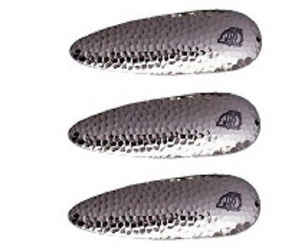 "Three Eppinger Huskie Junior Hammered Nickel Fishing Spoons 2 oz 4 1/2"" 7-62"