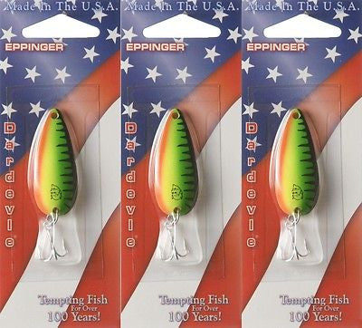Three Eppinger Dardevle Hot Mackerel 1/4oz 9-58 Spoon Fishing Lures