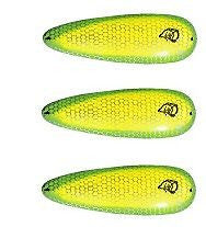 "Three Eppinger Dardevle Chartreuse Green Fishing Spoon Lures 1 oz 3 5/8"" 0-72"