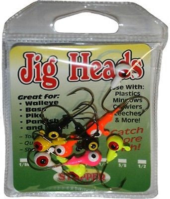 K&E Stopper Two Tone Assorted Color Jig Heads Size 1/32oz 11 Jigs/Package JHT32