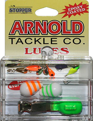 Arnold Mini Ice Fishing Kit 3KT-A 6 Jigs Two Floats Depth Finder FKW-3KT-A