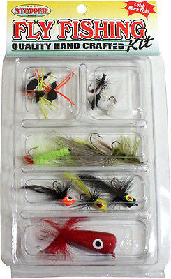 K&E Stopper Freshwater Fly Fishing Kit Flies/Spiders/Gnats/Poppers FKSC-FFA