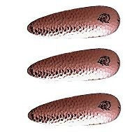 "Three Eppinger Dardevlet Hammered Copper Fishing Spoon Lures 3/4oz 2 7/8"" 1-64"