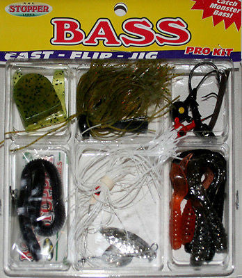 K&E Stopper Bass Fishing Kit Rigged Worms/Plastic Grubs/Spinner Bait FKSC-BR14