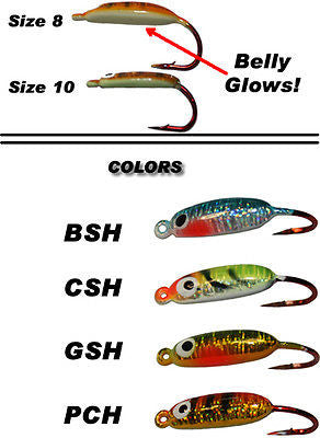Sitka Slider Ice Fishing Assortment Glows (Four Jigs Included) Size 8 ASL-8