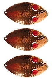 "Three Eppinger Red Eye Wiggler Hammered Copper Fish Spoons 2 1/2oz 4 3/4"" 89-64"