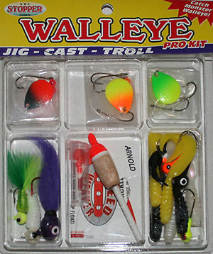 K&E Stopper Walleye Fishing Kit Plastics/Floats/Stops/Jigs FKSC-WL28