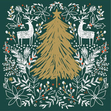 Load image into Gallery viewer, Golden Tree in the Forest Christmas cards, Pack of 10
