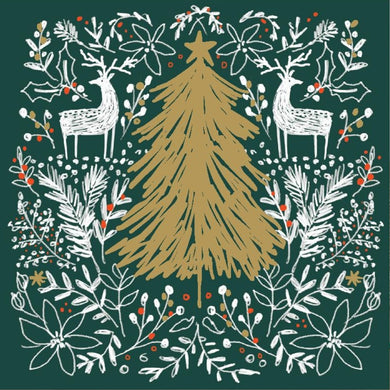 Golden Tree in the Forest Christmas cards, Pack of 10