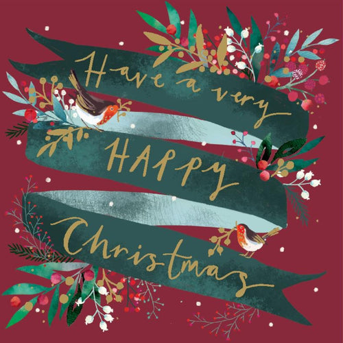 Happy Christmas Floral Ribbon Christmas cards, Pack of 10