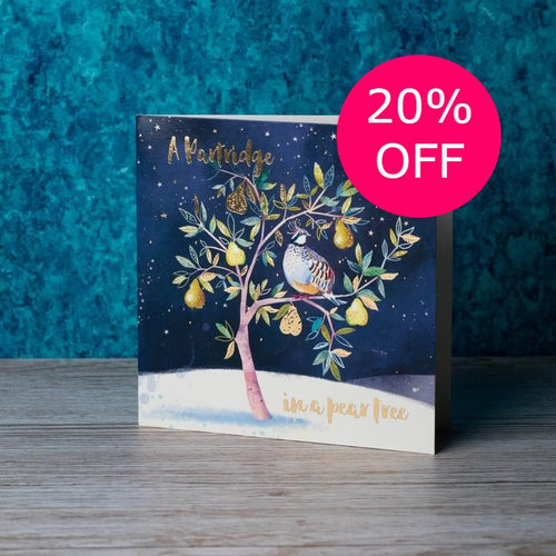 A partridge in a pear tree Christmas cards, Pack of 10