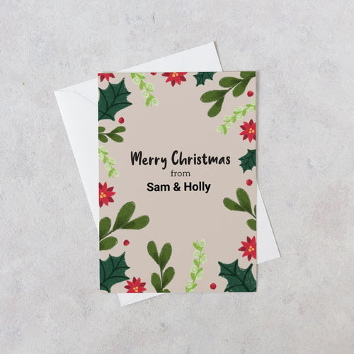 Merry Christmas floral personalised card
