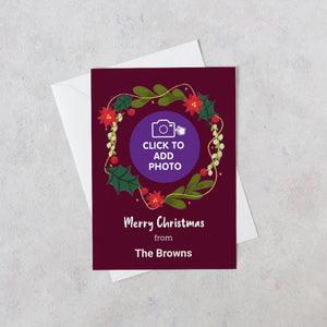 Personalised Merry Christmas wreath card photo upload