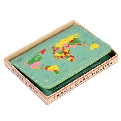 World map travel card holder
