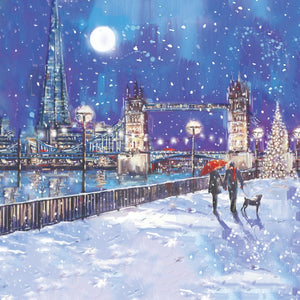 Tower Bridge in the snow Christmas cards, Pack of 10