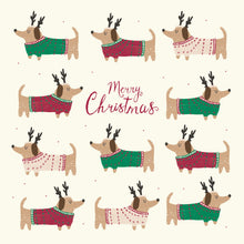 Load image into Gallery viewer, Dogs in jumpers Christmas cards, Pack of 10