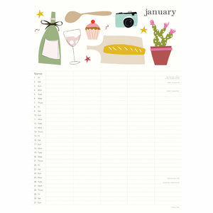 Family Calendar 2021 All Around the table Caroline Gardner January
