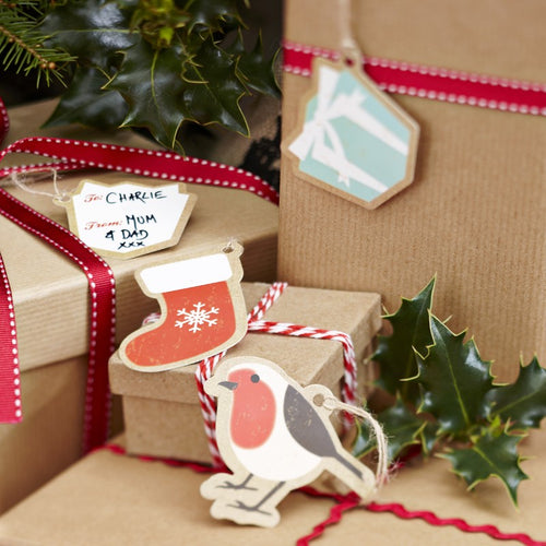 Retro Christmas gift tag set