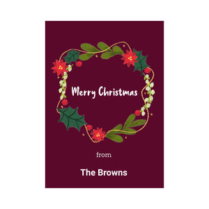 Personalised Merry Christmas wreath card