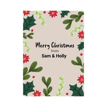 Load image into Gallery viewer, Merry Christmas floral personalised card