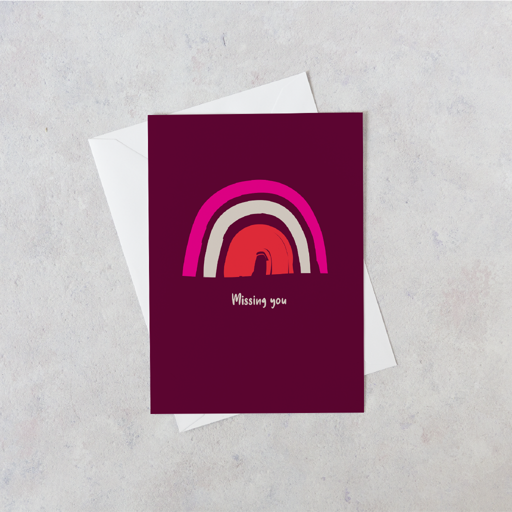 Personalised Rainbow Missing You Card