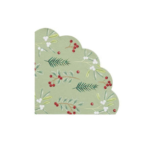 Holly napkin with scalloped edge