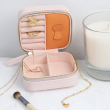 Load image into Gallery viewer, Small square jewellery travel case in Pink with gold
