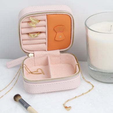 Small square jewellery travel case in Pink with gold
