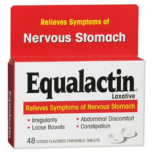 Equalactin Chewable Tablets Relieves Symptoms Of Nervous Stomach 48 tabs by Equalactin For relief of occasional constipation and irregularity. This product generally produces bowel movement in 12-72 hours. Nervous Stomach, with its symptoms of loose bowels, irregularity, abdominal discomfort and constipation, is caused by water imbalance in the bowel, and afflicts millions. Equalactin provides relief by equalizing the water balance to restore normal bowel movements. When you feel the onset of nervous stomach symptoms, take Equalactin to provide relief and prevent the episode from becoming severe.