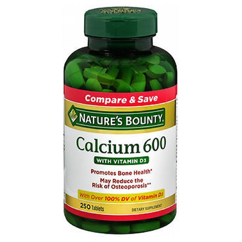 Nature's Bounty Calcium 600 With Vitamin D3 250 tabs by Nature's Bounty Compare and SaveGuaranteed QualityHealthy You. Healthy Earth.Laboratory TestedMay Reduce the Risk of Osteoporosis**Mineral SupplementPromotes Bone HealthWith 100% DV of Vitamin D3