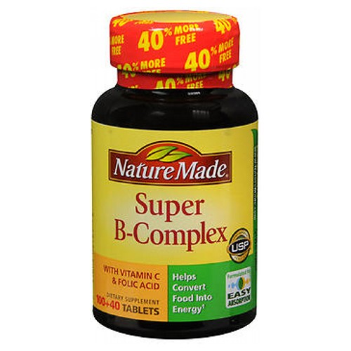 Nature Made Super B-Complex Dietary Supplement 140 tabs by Nature Made Helps convert food into energy. Also necessary for normal functioning of the nervous system. Our formula contains high levels of B vitamins and vitamin C. No artificial colors, flavors, preservatives, yeast, starch or gluten. Formulated for easy absorption.