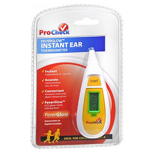 Procheck Feverglow Instant Ear Thermometer 1 each by Procheck Instant temperature in 1 second. Accurate measurements you can trust. Convenient measures body and object temperatures. FeverGlow LCD glows red to indicate fever. Contains: 1 digital ear thermometer, instruction booklet, 10 alcohol wipes, 3V lithium battery.