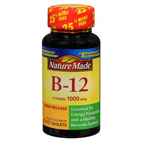 Nature Made Vitamin B-12 75 tabs by Nature Made Essential for a healthy nervous system and vital for red blood cell formation. Vitamin B-12 also promotes maintenance and growth of tissue. Our timed release formula extends the vitamin absorption by the body.* No artificial colors or flavors, preservatives, yeast, starch or gluten. *This statement has not been evaluated by the Food and Drug Administration. This product is not intended to diagnose, treat, cure or prevent any disease.